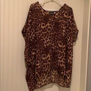 Leopard Blouse or Swim Coverup